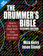 The Drummer's Bible: How to Play Every Drum Style from Afro-Cuban to Zydeco 2nd edition cover graphic